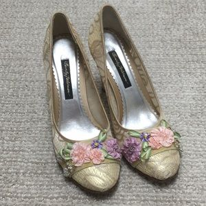 Beverly Feldman Lace and Floral Accented Heels